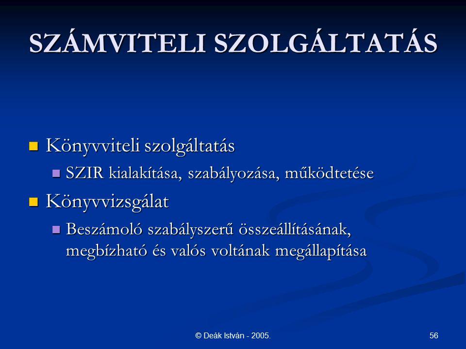56© Deák István - 2005. SZÁMVITELI SZOLGÁLTATÁS Könyvviteli szolgáltatás Könyvviteli szolgáltatás SZIR kialakítása, szabályozása, működtetése SZIR kia