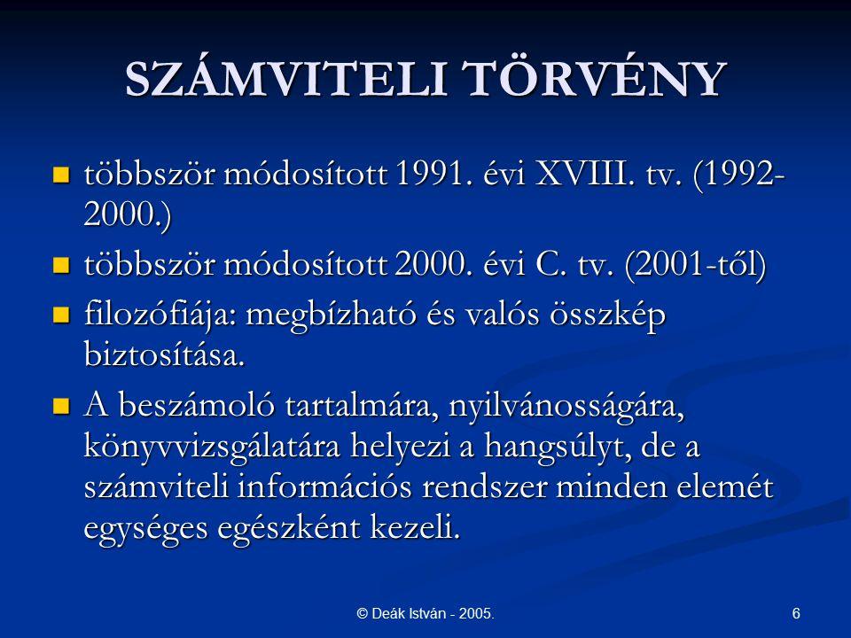 6© Deák István - 2005. SZÁMVITELI TÖRVÉNY többször módosított 1991. évi XVIII. tv. (1992- 2000.) többször módosított 1991. évi XVIII. tv. (1992- 2000.