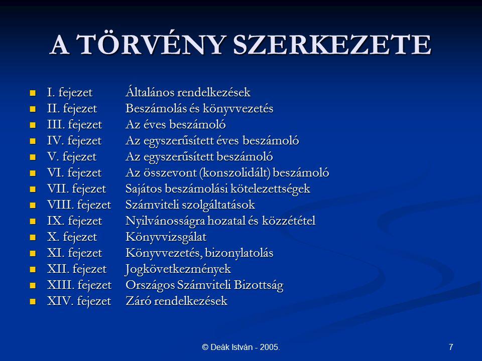 7© Deák István - 2005. A TÖRVÉNY SZERKEZETE I. fejezetÁltalános rendelkezések I. fejezetÁltalános rendelkezések II. fejezetBeszámolás és könyvvezetés