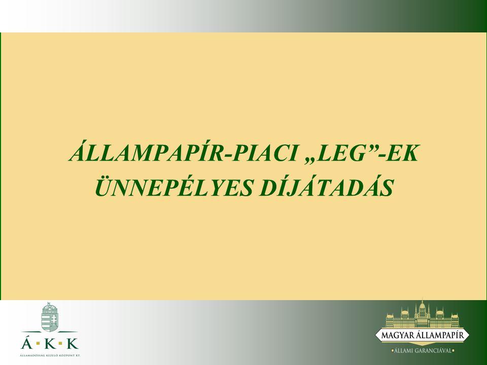 """ÁLLAMPAPÍR-PIACI """"LEG""""-EK ÜNNEPÉLYES DÍJÁTADÁS"""