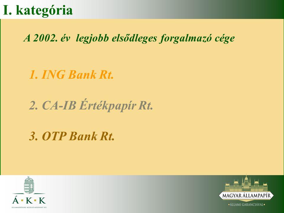 I. kategória A 2002. év legjobb elsődleges forgalmazó cége 1. ING Bank Rt. 2. CA-IB Értékpapír Rt. 3. OTP Bank Rt.