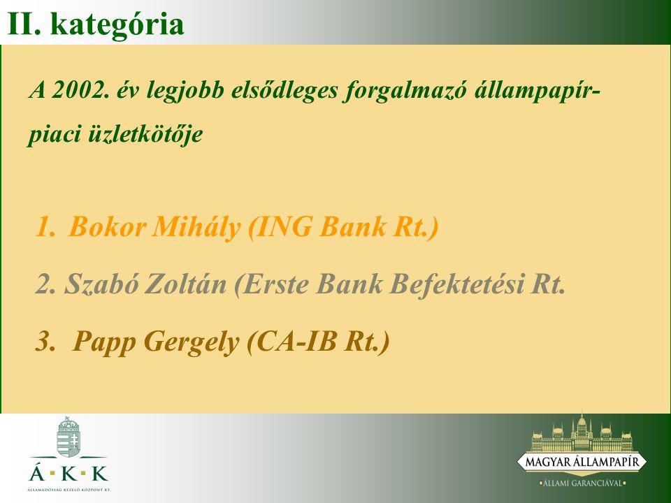 II. kategória A 2002. év legjobb elsődleges forgalmazó állampapír- piaci üzletkötője 1.Bokor Mihály (ING Bank Rt.) 2. Szabó Zoltán (Erste Bank Befekte