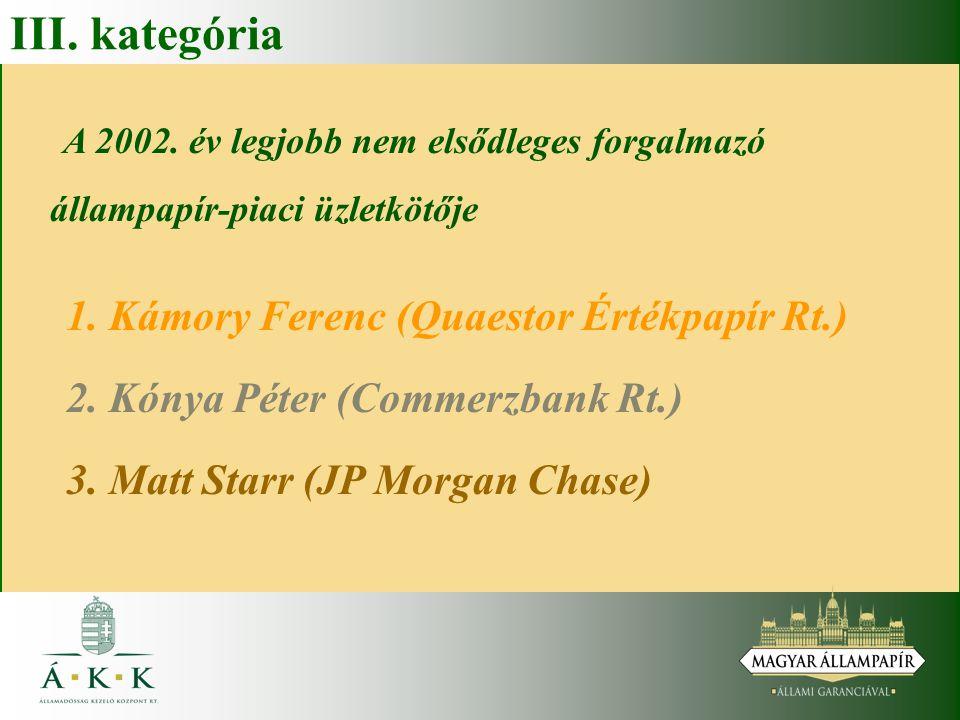 III. kategória A 2002. év legjobb nem elsődleges forgalmazó állampapír-piaci üzletkötője 1. Kámory Ferenc (Quaestor Értékpapír Rt.) 2. Kónya Péter (Co