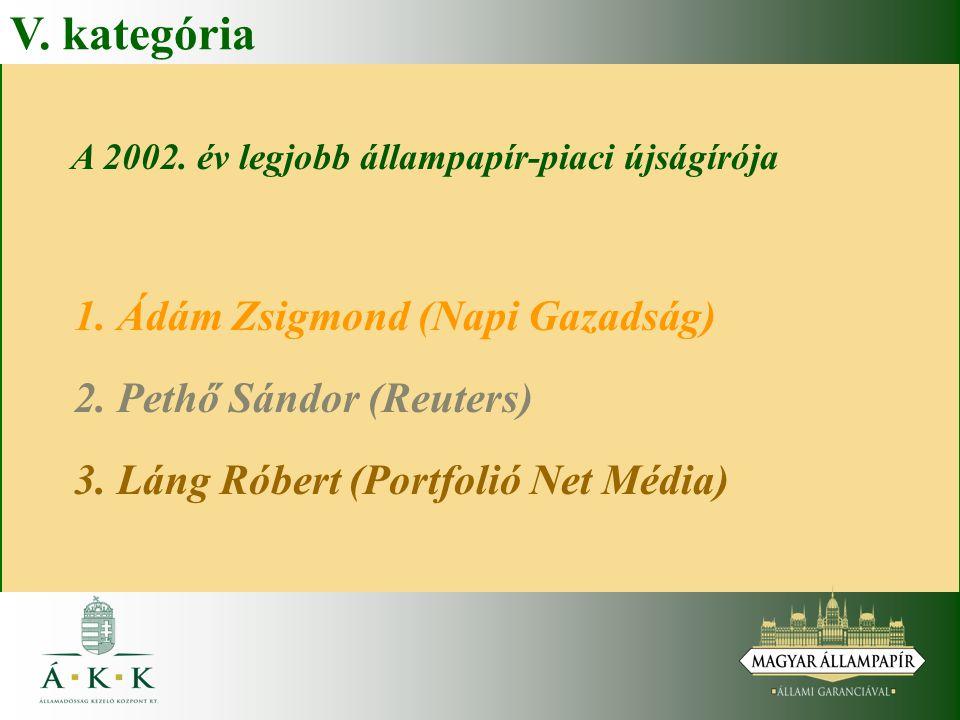 V. kategória A 2002. év legjobb állampapír-piaci újságírója 1. Ádám Zsigmond (Napi Gazadság) 2. Pethő Sándor (Reuters) 3. Láng Róbert (Portfolió Net M