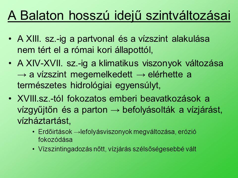 A Balaton hosszú idejű szintváltozásai A XIII.