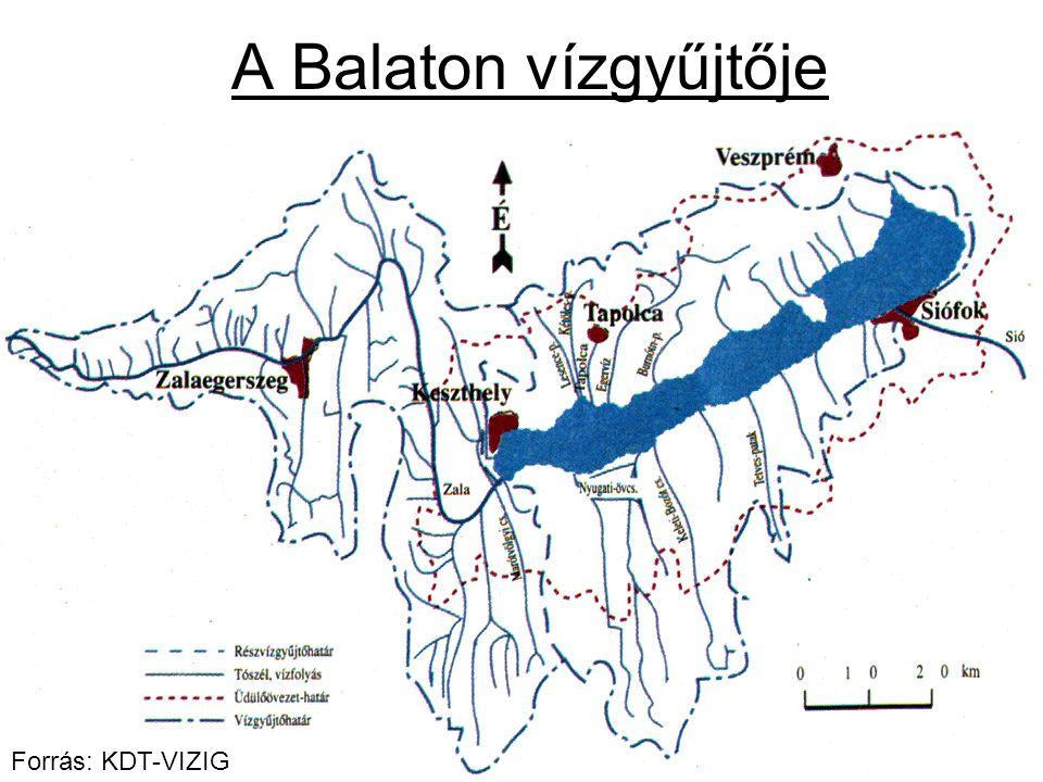 A Balaton vízgyűjtője Forrás: KDT-VIZIG