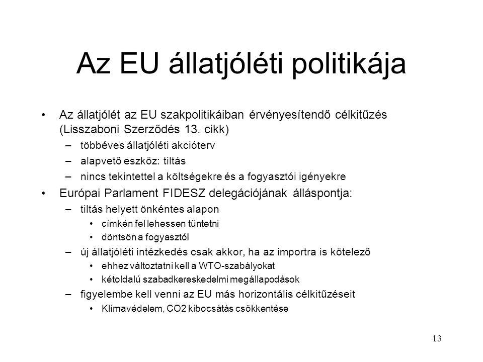 13 Az EU állatjóléti politikája Az állatjólét az EU szakpolitikáiban érvényesítendő célkitűzés (Lisszaboni Szerződés 13. cikk) –többéves állatjóléti a