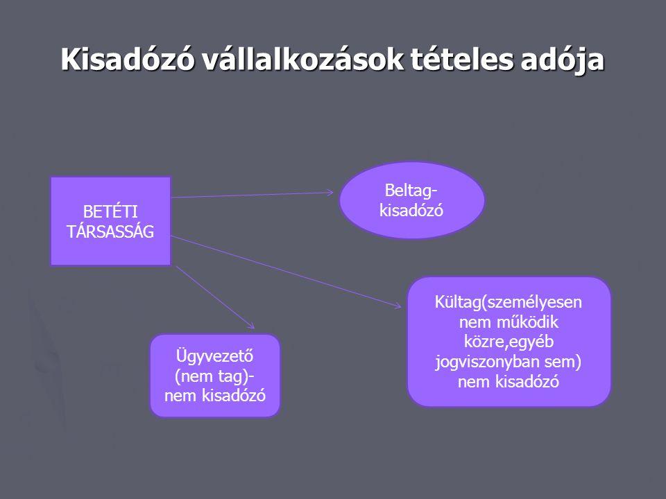 Kisadózó vállalkozások tételes adója BETÉTI TÁRSASSÁG Beltag- kisadózó Ügyvezető (nem tag)- nem kisadózó Kültag(személyesen nem működik közre,egyéb jo