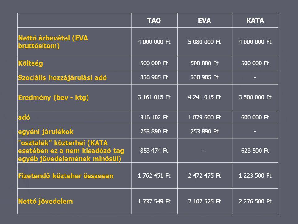 TAOEVAKATA Nettó árbevétel (EVA bruttósítom) 4 000 000 Ft5 080 000 Ft4 000 000 Ft Költség 500 000 Ft Szociális hozzájárulási adó 338 985 Ft - Eredmény