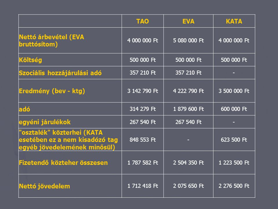 TAOEVAKATA Nettó árbevétel (EVA bruttósítom) 4 000 000 Ft5 080 000 Ft4 000 000 Ft Költség 500 000 Ft Szociális hozzájárulási adó 357 210 Ft - Eredmény