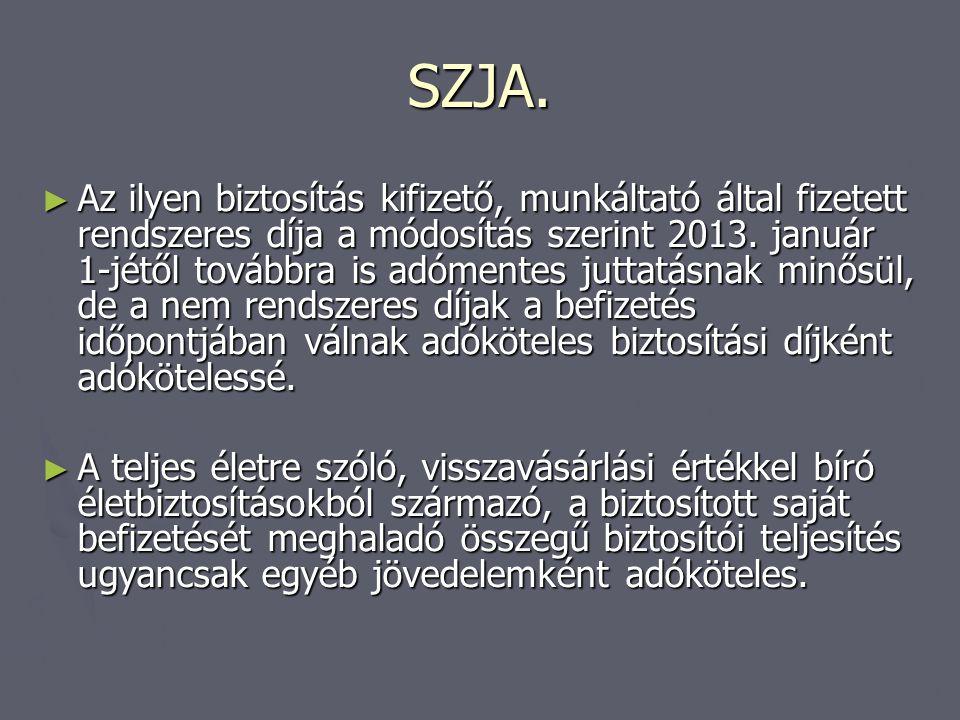 SZJA. ► Az ilyen biztosítás kifizető, munkáltató által fizetett rendszeres díja a módosítás szerint 2013. január 1-jétől továbbra is adómentes juttatá