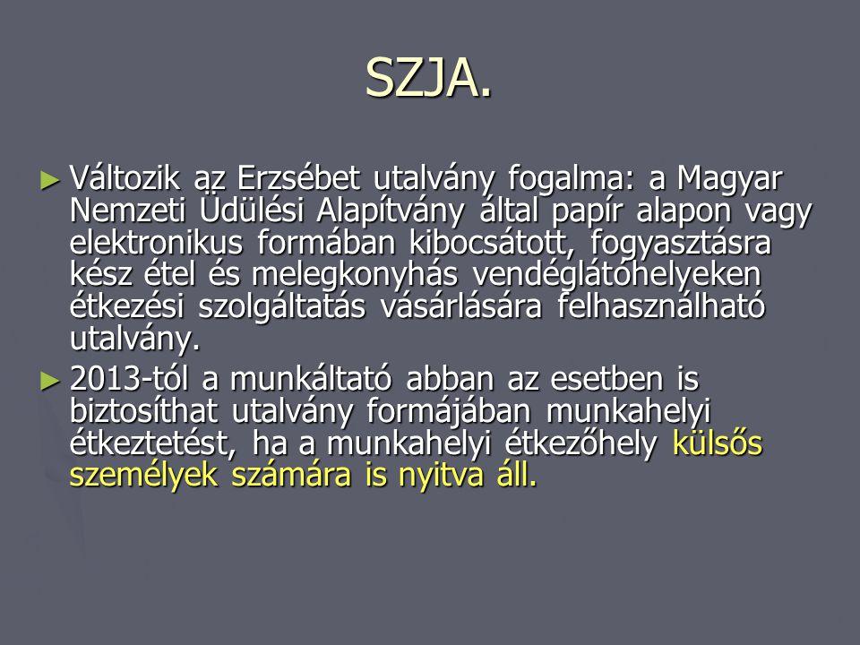 SZJA. ► Változik az Erzsébet utalvány fogalma: a Magyar Nemzeti Üdülési Alapítvány által papír alapon vagy elektronikus formában kibocsátott, fogyaszt