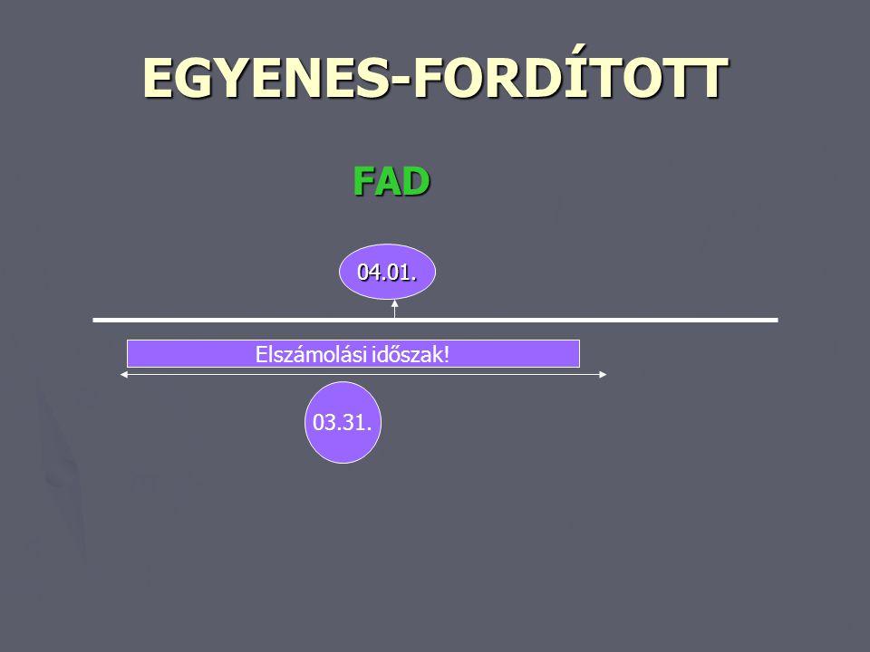 EGYENES-FORDÍTOTT FAD FAD 04.01. 03.31. Elszámolási időszak!