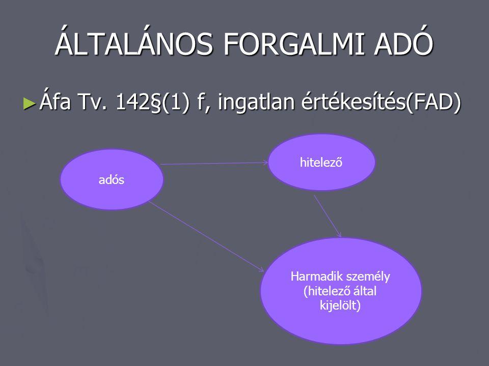 ÁLTALÁNOS FORGALMI ADÓ ► Áfa Tv. 142§(1) f, ingatlan értékesítés(FAD) adós hitelező Harmadik személy (hitelező által kijelölt)