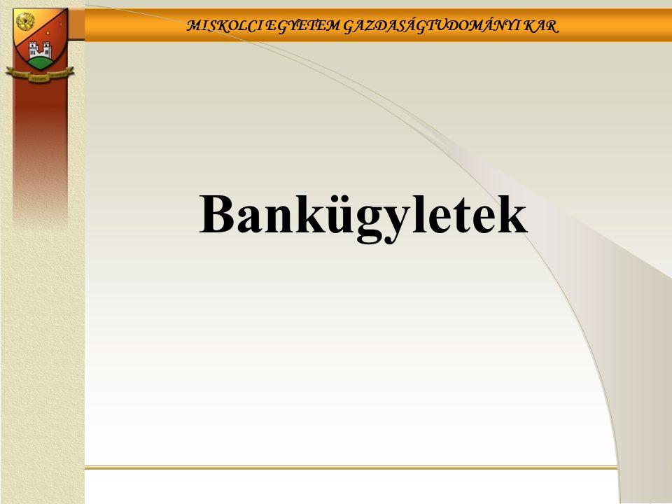 MISKOLCI EGYETEM GAZDASÁGTUDOMÁNYI KAR 42 A pénzügyi intézmények által egyéb, üzletszerűen végezhető tevékenységek Biztosítási ügynöki tevékenység; Árutőzsde-ügynöki tevékenység; Befektetési szolgáltatási és kiegészítő befektetési szolgáltatási tevékenységek; Aranykereskedelmi ügyletek; Részvénykönyvvezetés; Elektronikus aláírásról szóló törvényben meghatározott szolgáltatások; Diákhitel Központ hitelezési tevékenységének elősegítése.