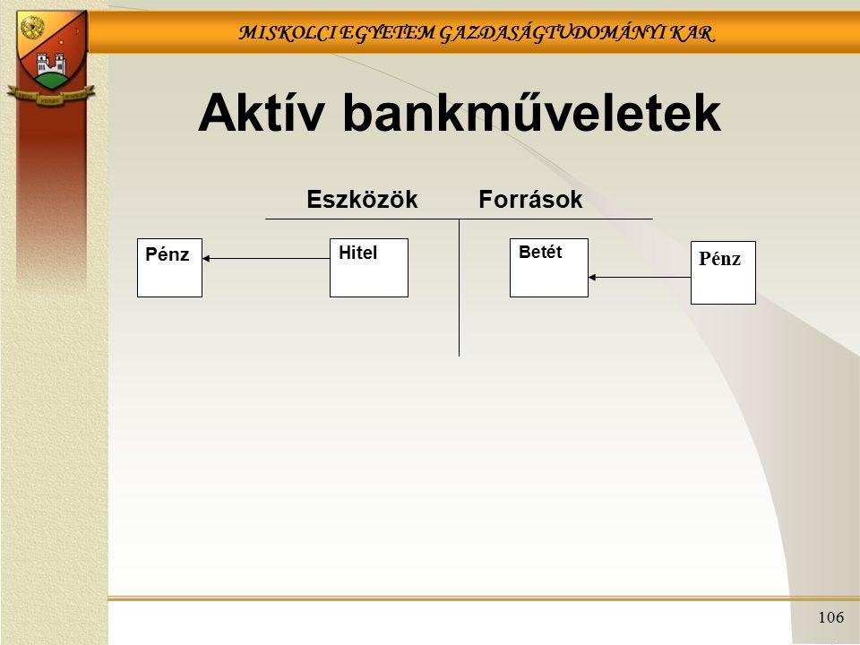 MISKOLCI EGYETEM GAZDASÁGTUDOMÁNYI KAR 106 Aktív bankműveletek EszközökForrások Hitel Betét Pénz