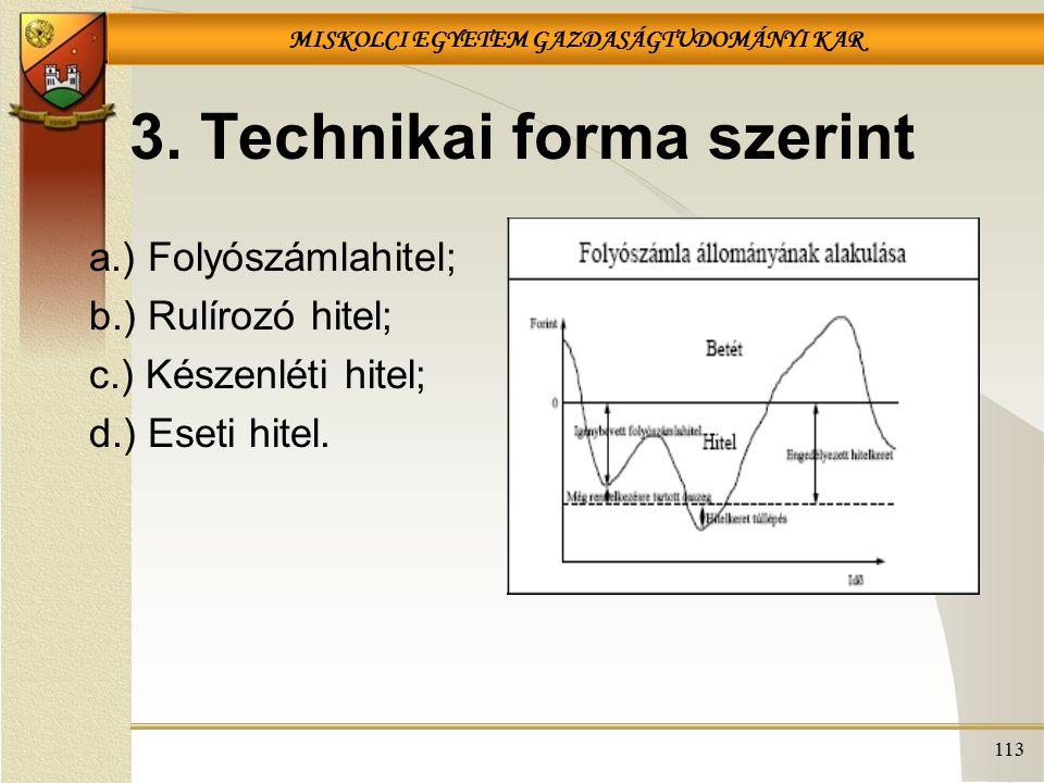 MISKOLCI EGYETEM GAZDASÁGTUDOMÁNYI KAR 113 3. Technikai forma szerint a.) Folyószámlahitel; b.) Rulírozó hitel; c.) Készenléti hitel; d.) Eseti hitel.