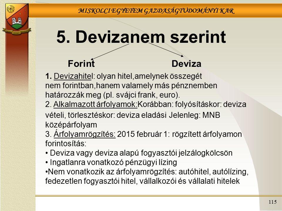 MISKOLCI EGYETEM GAZDASÁGTUDOMÁNYI KAR 115 5.Devizanem szerint ForintDeviza 1.