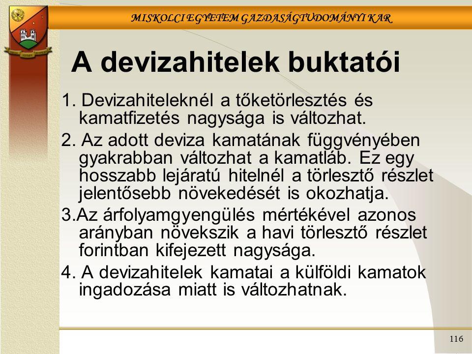 MISKOLCI EGYETEM GAZDASÁGTUDOMÁNYI KAR 116 A devizahitelek buktatói 1.