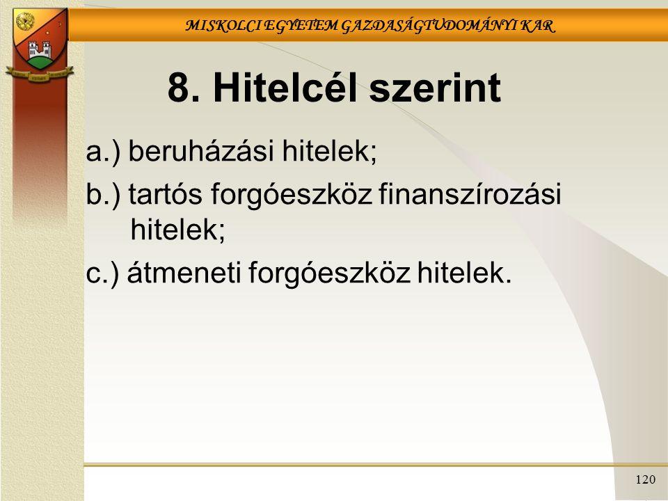 MISKOLCI EGYETEM GAZDASÁGTUDOMÁNYI KAR 120 8. Hitelcél szerint a.) beruházási hitelek; b.) tartós forgóeszköz finanszírozási hitelek; c.) átmeneti for