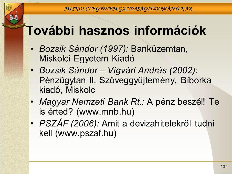 MISKOLCI EGYETEM GAZDASÁGTUDOMÁNYI KAR 124 További hasznos információk Bozsik Sándor (1997): Banküzemtan, Miskolci Egyetem Kiadó Bozsik Sándor – Vígvá