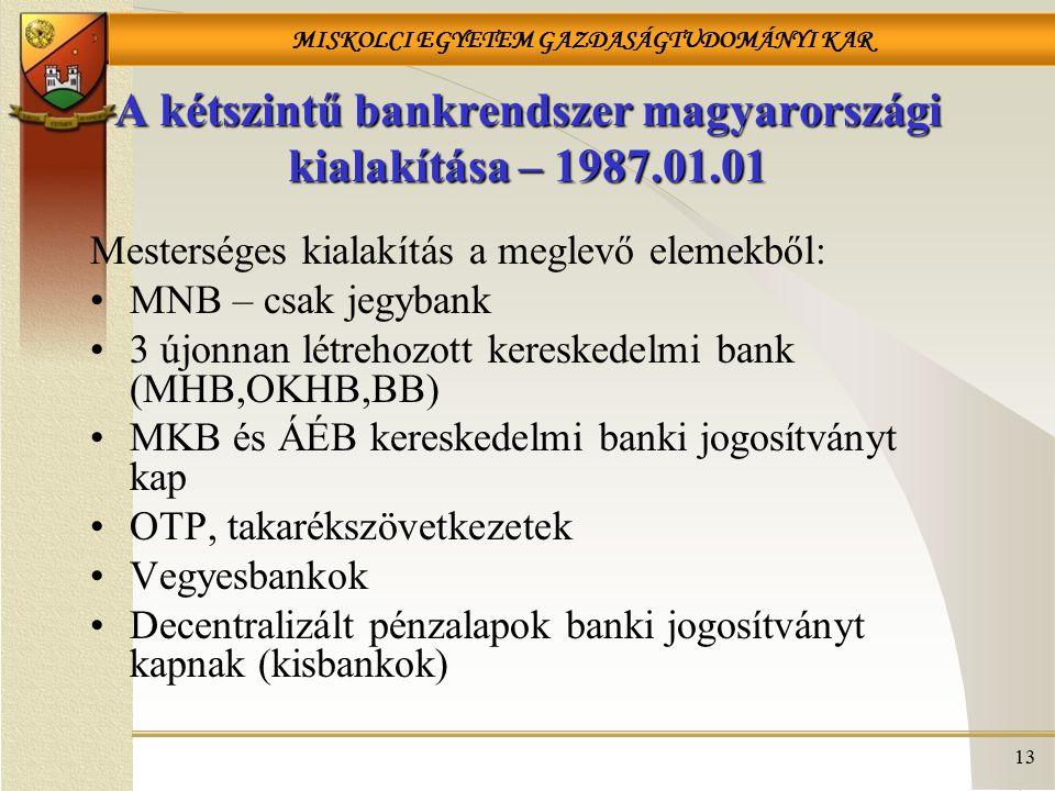MISKOLCI EGYETEM GAZDASÁGTUDOMÁNYI KAR 13 A kétszintű bankrendszer magyarországi kialakítása – 1987.01.01 Mesterséges kialakítás a meglevő elemekből: