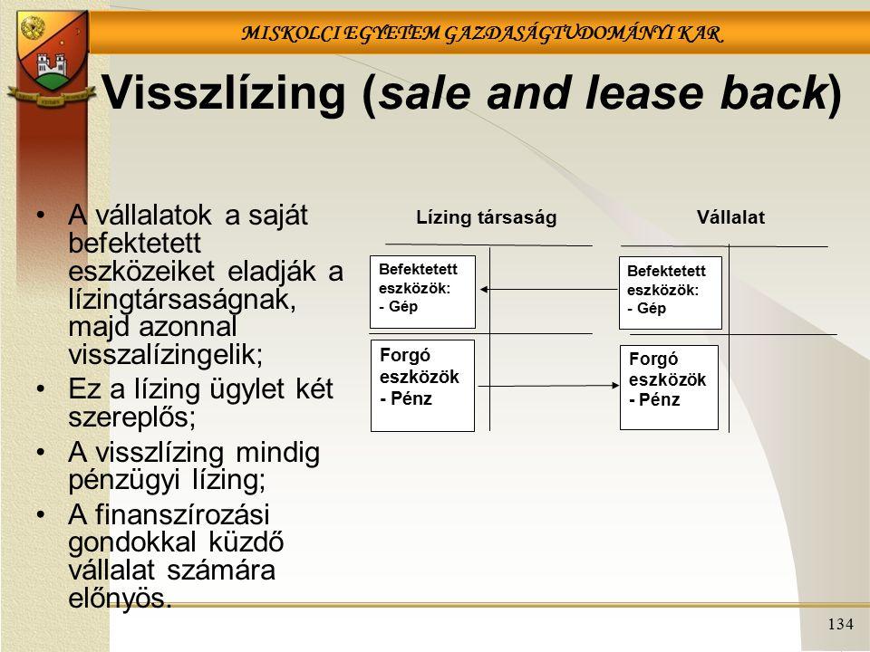 MISKOLCI EGYETEM GAZDASÁGTUDOMÁNYI KAR 134 Visszlízing (sale and lease back) A vállalatok a saját befektetett eszközeiket eladják a lízingtársaságnak,