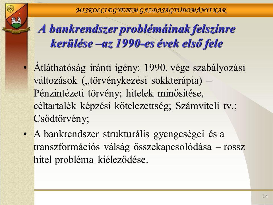 MISKOLCI EGYETEM GAZDASÁGTUDOMÁNYI KAR 14 A bankrendszer problémáinak felszínre kerülése –az 1990-es évek első fele Átláthatóság iránti igény: 1990. v