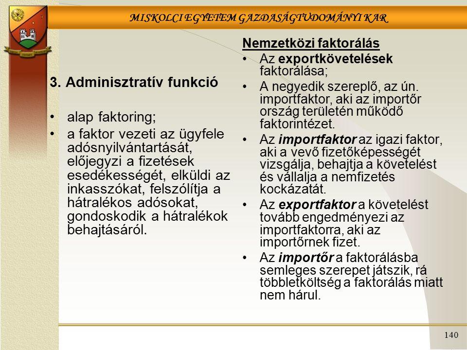 MISKOLCI EGYETEM GAZDASÁGTUDOMÁNYI KAR 140 3. Adminisztratív funkció alap faktoring; a faktor vezeti az ügyfele adósnyilvántartását, előjegyzi a fizet