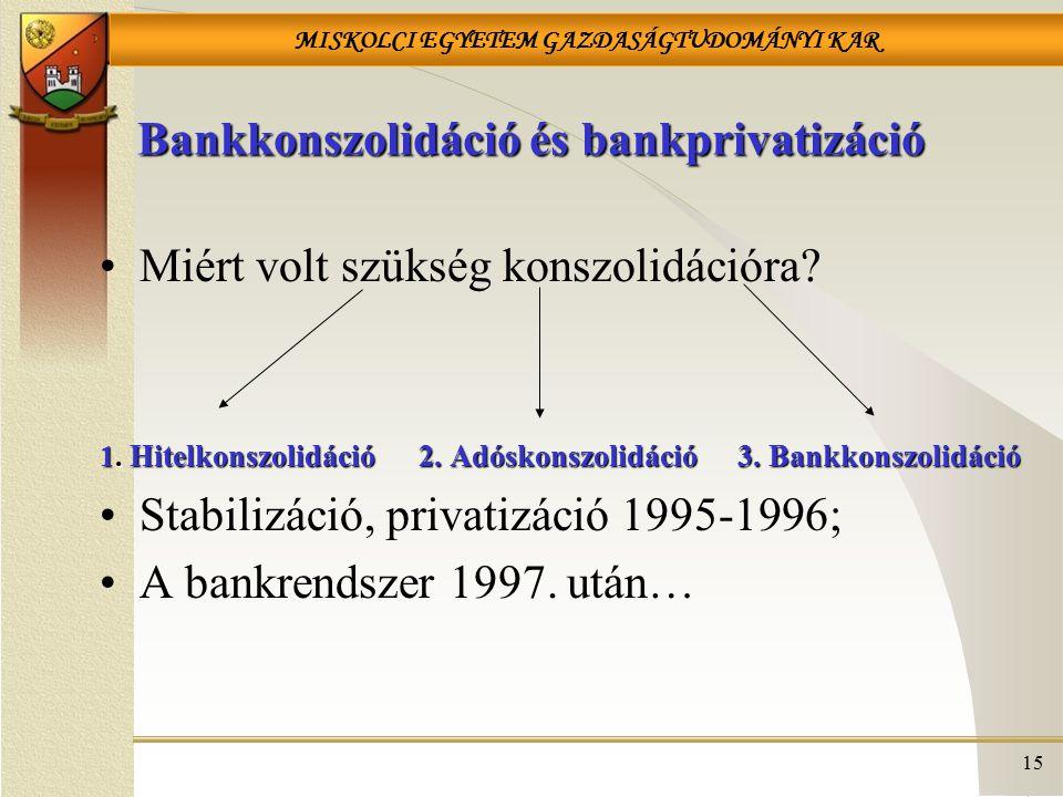 MISKOLCI EGYETEM GAZDASÁGTUDOMÁNYI KAR 15 Bankkonszolidáció és bankprivatizáció Miért volt szükség konszolidációra? 1. Hitelkonszolidáció2. Adóskonszo
