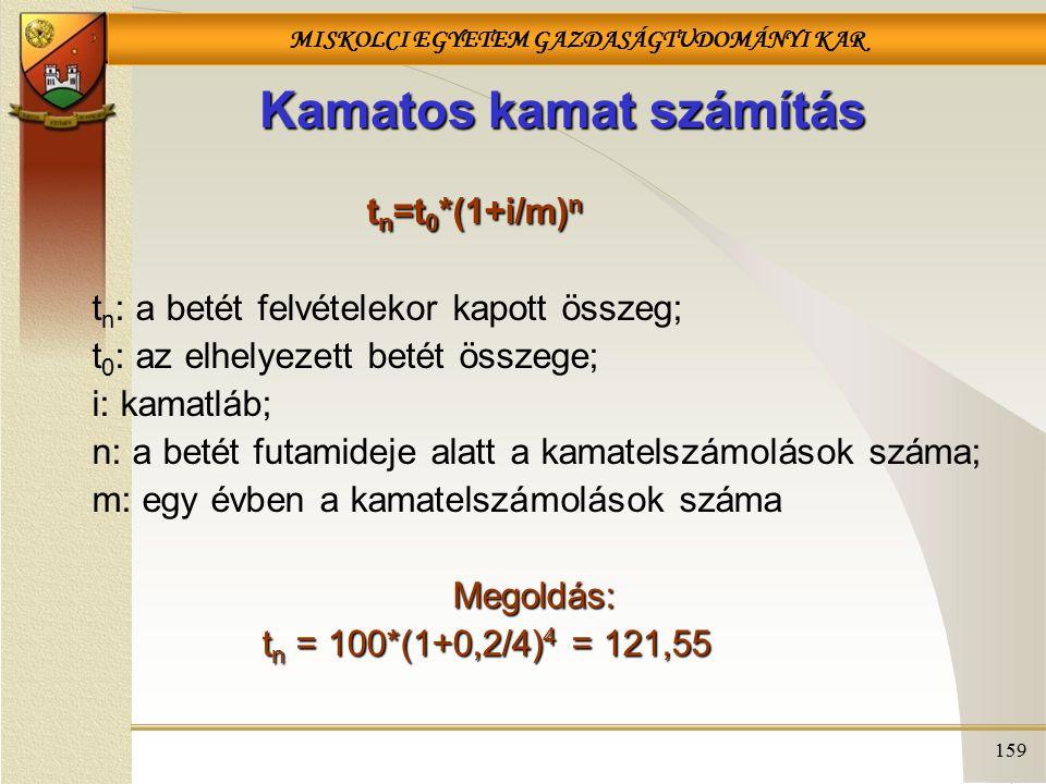 MISKOLCI EGYETEM GAZDASÁGTUDOMÁNYI KAR 159 Kamatos kamat számítás t n =t 0 *(1+i/m) n t n : a betét felvételekor kapott összeg; t 0 : az elhelyezett betét összege; i: kamatláb; n: a betét futamideje alatt a kamatelszámolások száma; m: egy évben a kamatelszámolások számaMegoldás: t n = 100*(1+0,2/4) 4 = 121,55