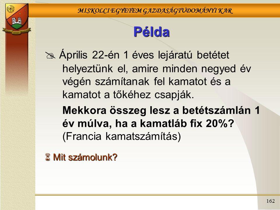 MISKOLCI EGYETEM GAZDASÁGTUDOMÁNYI KAR 162 Példa  Április 22-én 1 éves lejáratú betétet helyeztünk el, amire minden negyed év végén számítanak fel ka