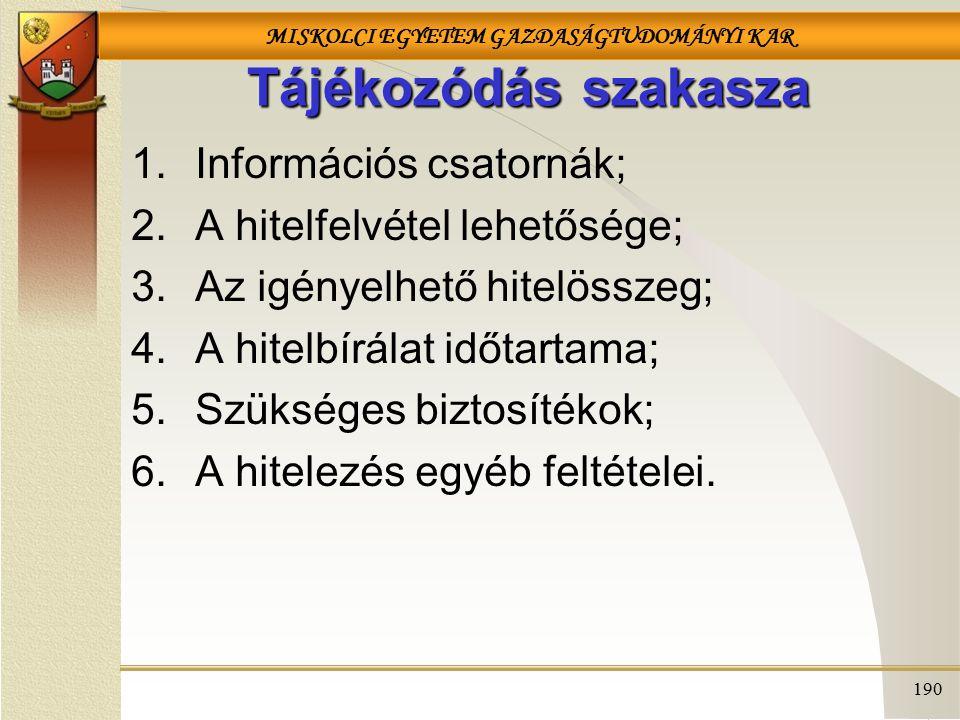 MISKOLCI EGYETEM GAZDASÁGTUDOMÁNYI KAR 190 Tájékozódás szakasza 1.Információs csatornák; 2.A hitelfelvétel lehetősége; 3.Az igényelhető hitelösszeg; 4