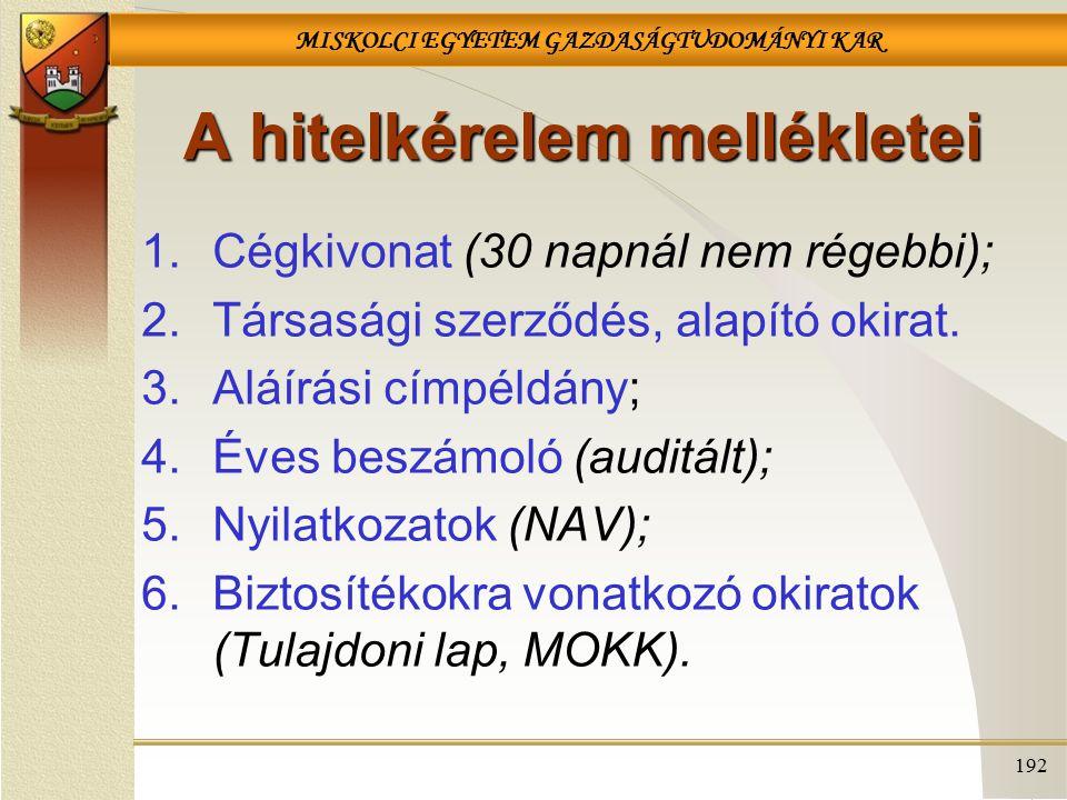 MISKOLCI EGYETEM GAZDASÁGTUDOMÁNYI KAR 192 A hitelkérelem mellékletei 1.Cégkivonat (30 napnál nem régebbi); 2.Társasági szerződés, alapító okirat.