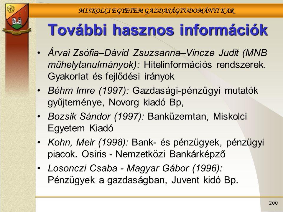 MISKOLCI EGYETEM GAZDASÁGTUDOMÁNYI KAR 200 További hasznos információk Árvai Zsófia–Dávid Zsuzsanna–Vincze Judit (MNB műhelytanulmányok): Hitelinformációs rendszerek.