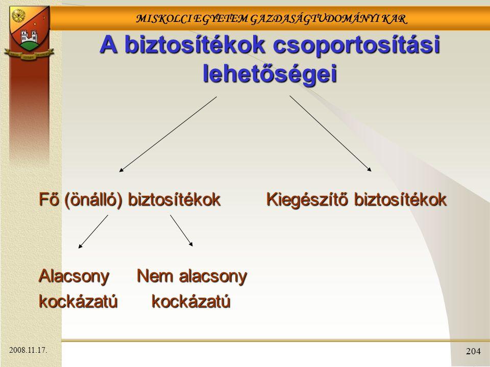 MISKOLCI EGYETEM GAZDASÁGTUDOMÁNYI KAR 204 A biztosítékok csoportosítási lehetőségei Fő (önálló) biztosítékokKiegészítő biztosítékok Fő (önálló) biztosítékok Kiegészítő biztosítékok AlacsonyNem alacsony kockázatú kockázatú 2008.11.17.