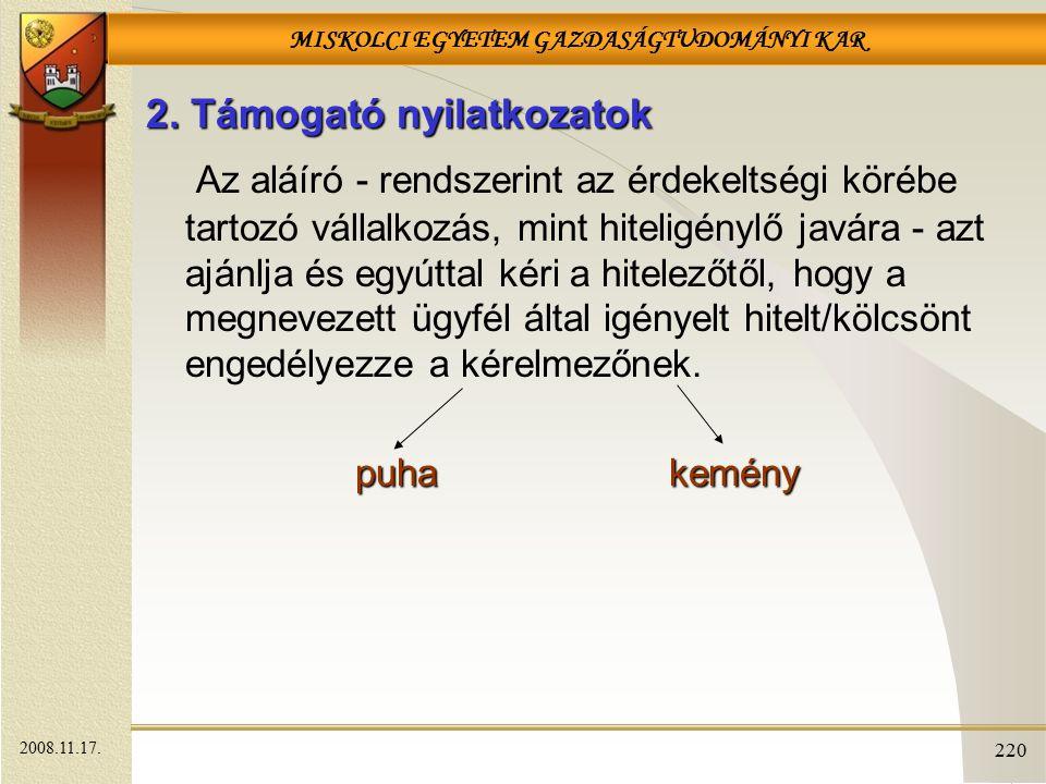 MISKOLCI EGYETEM GAZDASÁGTUDOMÁNYI KAR 220 2.