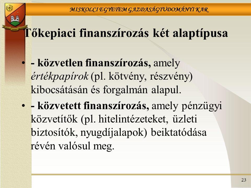 MISKOLCI EGYETEM GAZDASÁGTUDOMÁNYI KAR 23 Tőkepiaci finanszírozás két alaptípusa - közvetlen finanszírozás, amely értékpapírok (pl. kötvény, részvény)