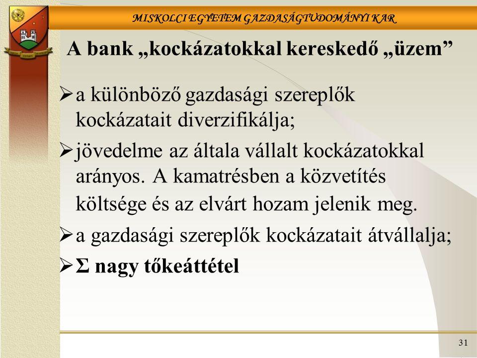 """MISKOLCI EGYETEM GAZDASÁGTUDOMÁNYI KAR 31 A bank """"kockázatokkal kereskedő """"üzem  a különböző gazdasági szereplők kockázatait diverzifikálja;  jövedelme az általa vállalt kockázatokkal arányos."""