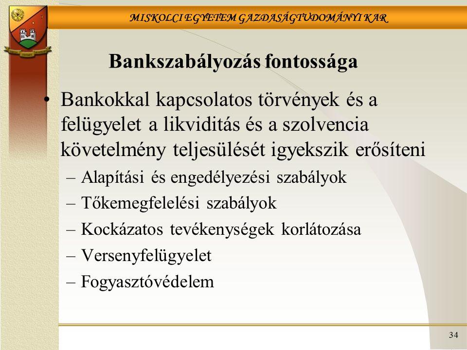 MISKOLCI EGYETEM GAZDASÁGTUDOMÁNYI KAR Bankszabályozás fontossága Bankokkal kapcsolatos törvények és a felügyelet a likviditás és a szolvencia követelmény teljesülését igyekszik erősíteni –Alapítási és engedélyezési szabályok –Tőkemegfelelési szabályok –Kockázatos tevékenységek korlátozása –Versenyfelügyelet –Fogyasztóvédelem 34