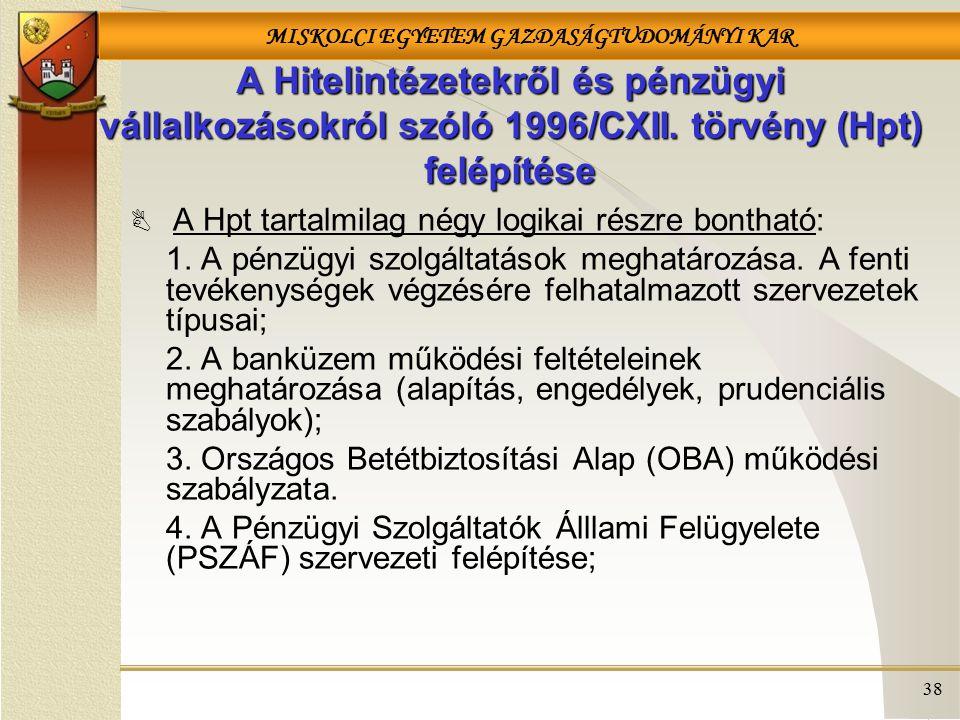 MISKOLCI EGYETEM GAZDASÁGTUDOMÁNYI KAR 38 A Hitelintézetekről és pénzügyi vállalkozásokról szóló 1996/CXII.