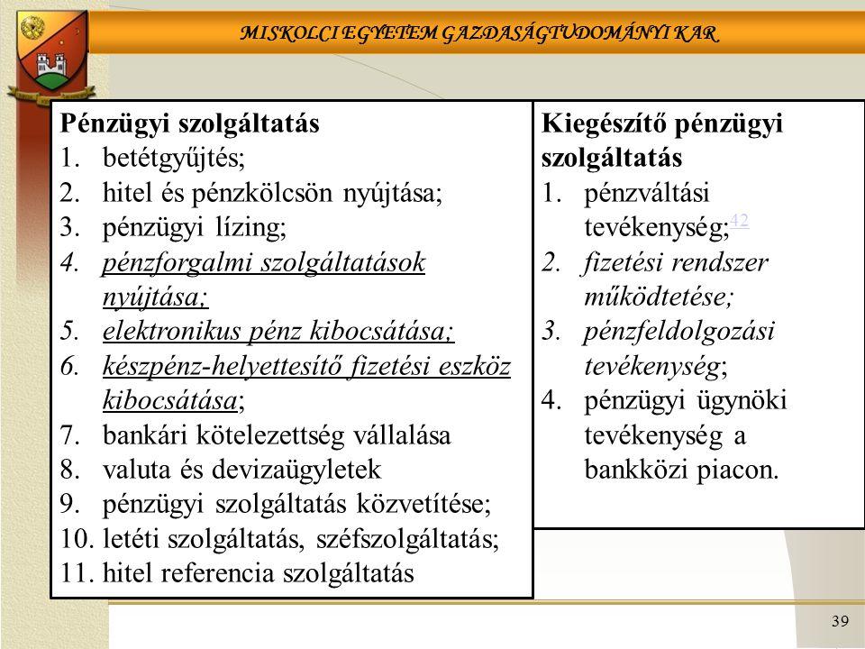 MISKOLCI EGYETEM GAZDASÁGTUDOMÁNYI KAR 39 Pénzügyi szolgáltatás 1.betétgyűjtés; 2.hitel és pénzkölcsön nyújtása; 3.pénzügyi lízing; 4.pénzforgalmi szolgáltatások nyújtása; 5.elektronikus pénz kibocsátása; 6.készpénz-helyettesítő fizetési eszköz kibocsátása; 7.bankári kötelezettség vállalása 8.valuta és devizaügyletek 9.pénzügyi szolgáltatás közvetítése; 10.letéti szolgáltatás, széfszolgáltatás; 11.hitel referencia szolgáltatás Kiegészítő pénzügyi szolgáltatás 1.pénzváltási tevékenység; 42 42 2.fizetési rendszer működtetése; 3.pénzfeldolgozási tevékenység; 4.pénzügyi ügynöki tevékenység a bankközi piacon.