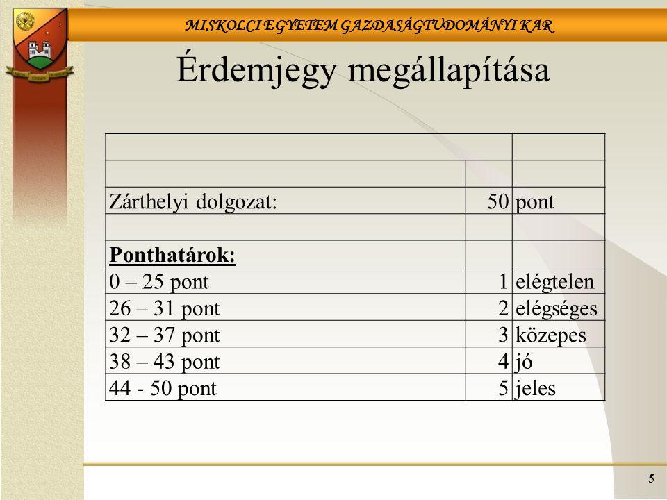 MISKOLCI EGYETEM GAZDASÁGTUDOMÁNYI KAR 176  Mit nem tartalmaz a THM.