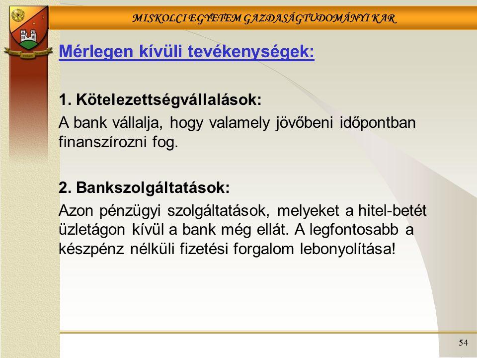 MISKOLCI EGYETEM GAZDASÁGTUDOMÁNYI KAR 54 Mérlegen kívüli tevékenységek: 1. Kötelezettségvállalások: A bank vállalja, hogy valamely jövőbeni időpontba