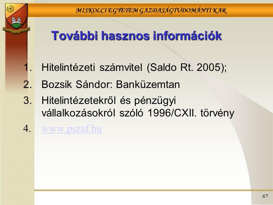 MISKOLCI EGYETEM GAZDASÁGTUDOMÁNYI KAR 67 További hasznos információk 1.Hitelintézeti számvitel (Saldo Rt. 2005); 2.Bozsik Sándor: Banküzemtan 3.Hitel