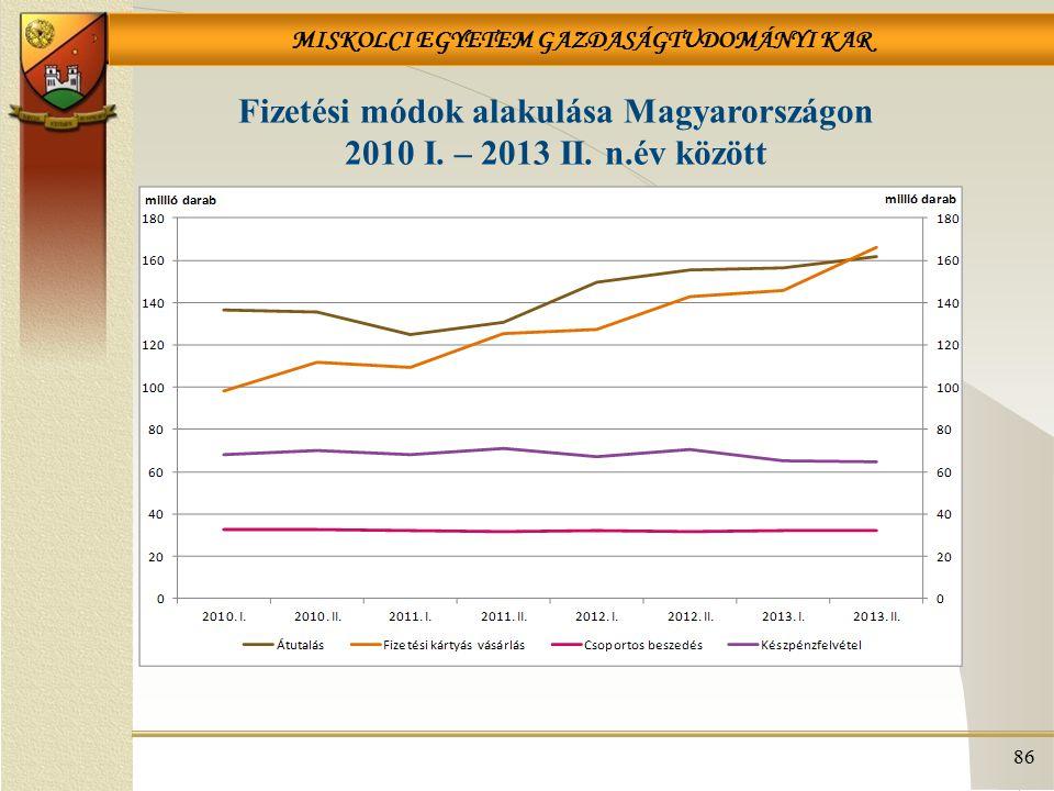 MISKOLCI EGYETEM GAZDASÁGTUDOMÁNYI KAR 86 Fizetési módok alakulása Magyarországon 2010 I. – 2013 II. n.év között