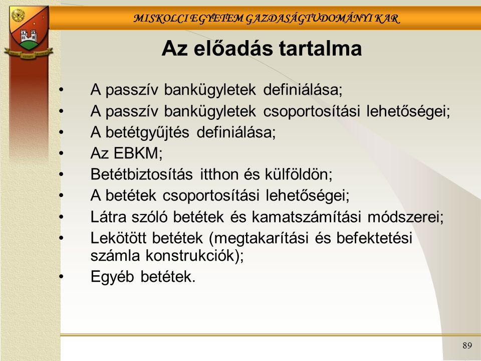 MISKOLCI EGYETEM GAZDASÁGTUDOMÁNYI KAR 89 Az előadás tartalma A passzív bankügyletek definiálása; A passzív bankügyletek csoportosítási lehetőségei; A