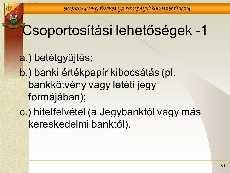 MISKOLCI EGYETEM GAZDASÁGTUDOMÁNYI KAR 91 Csoportosítási lehetőségek -1 a.) betétgyűjtés; b.) banki értékpapír kibocsátás (pl. bankkötvény vagy letéti
