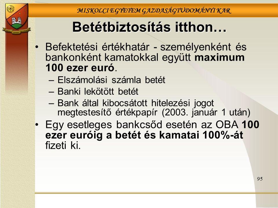 MISKOLCI EGYETEM GAZDASÁGTUDOMÁNYI KAR Betétbiztosítás itthon… Befektetési értékhatár - személyenként és bankonként kamatokkal együtt maximum 100 ezer euró.
