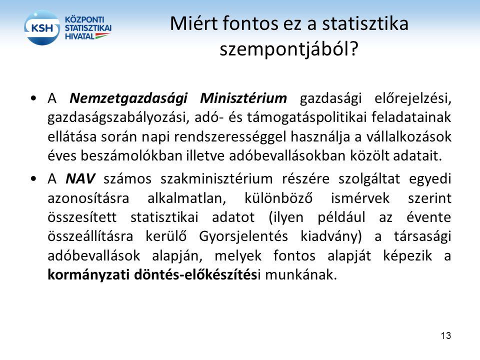 Miért fontos ez a statisztika szempontjából? A Nemzetgazdasági Minisztérium gazdasági előrejelzési, gazdaságszabályozási, adó- és támogatáspolitikai f